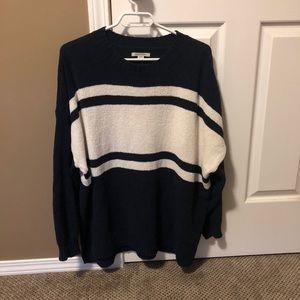 AE oversized chenille crew neck sweater navy